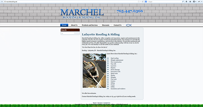 Marchel Roofing Web Site Design