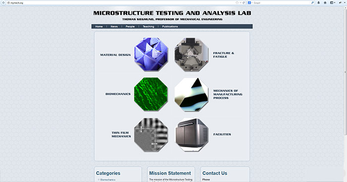 Microstructure Testing and Analysis Lab Web Site Design