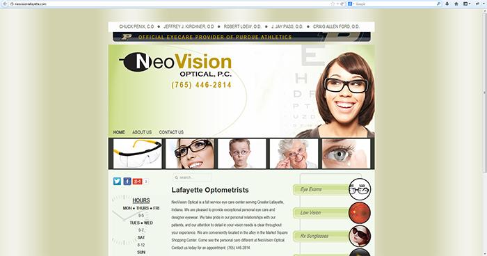 NeoVision Optical Web Site Design