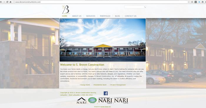 S Brown Construction Web Site Design