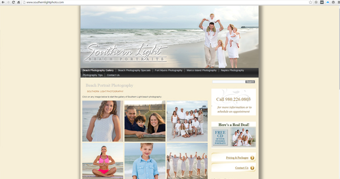 Southern Light Beach Photography Web Site Design