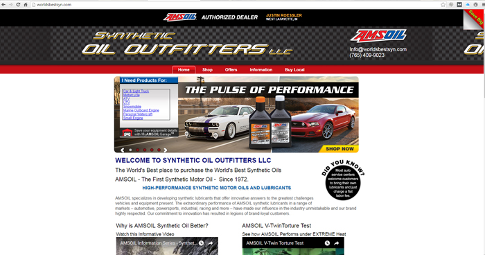 Synthetic Oil Outfitters Web Site Design