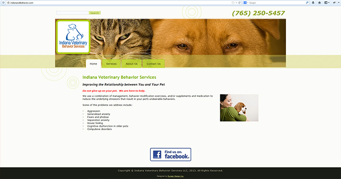 Indiana Veterinary Behavior Services Web Site Design