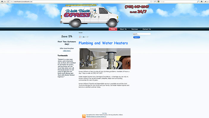 Water Heater Express Web Site Design